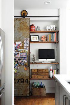 closet office, sliding door, vintage style, open shelves