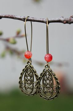Antique bronze filigree tear drop earrings boho by tortugasdesign, $9.95