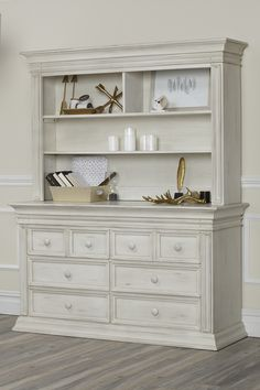 Baby Caché Vienna Hutch and Double Dresser in Antique White  #babycache #nursery #furniture #inspo #ideas