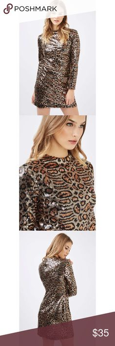 🆕 Topshop long sleeve sequin mini dress Beautiful cheetah print sequined mini dress. Perfect for NYE, or a birthday party! You're sure to be the center of attention in the glitzy and glamorous mini dress! Size US 2. Brand new, never worn or washed. Topshop Dresses Long Sleeve