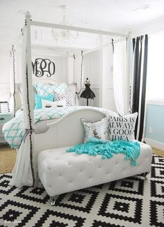 Tiffany inspired bedroom for teen girls. Like the light walls and furniture, chandelier, bed curtains, padded bench