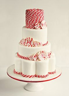 This cake is peperminty, red & white GORGEOUS!  I love every single thing about it