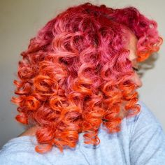 Red pink color curls