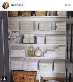 (For Laundry Organization In Main Bathroom) Large Stackable Baskets Like  These Large Ones On The Bottom From Are A Great Way To Store Bed Linens And  A ...