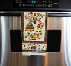 Pennsylvania Dutch Folk Art Linen Tea Towel by Parisian Prints | 1970s Kitchen Towel, Dish Towel by FireflyVintageHome on Etsy