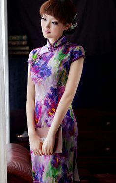 Purple abstract print heavy silk modern qipao Chinese cheongsam dress | www.ModernQipao.com