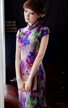 Purple abstract print heavy silk modern qipao Chinese cheongsam dress | www.ModernQipao.com