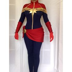Captain Marvel Superhero Costume. Cosplay,Custom made (630 CAD) ❤ liked on Polyvore featuring costumes, role play costumes, superhero costumes, superhero halloween costumes, cosplay costumes and captain costume