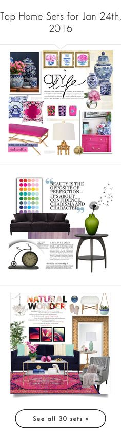 """""""Top Home Sets for Jan 24th, 2016"""" by polyvore ❤ liked on Polyvore featuring interior, interiors, interior design, home, home decor, interior decorating, Moss Studio, Prospect + Vine, Williams-Sonoma and Surya"""