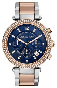 Women's Michael Kors 'Parker' Chronograph Bracelet Watch, 39mm - Rose Gold/ Silver/ Blue