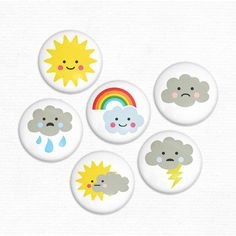 Cute Weather Magnet Set hownice on etsy Classroom Displays, Classroom Decor, Kreative Jobs, Good Morning Posters, Weather For Kids, Emoji Craft, Art For Kids, Crafts For Kids, Weather Crafts
