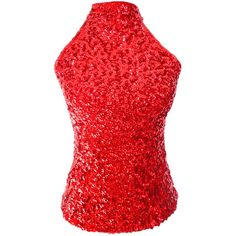 Red Charming Ladies Sleeveless Sequined Halter Top ($21) ❤ liked on Polyvore featuring tops, pinkqueen, red, sleeveless tops, sequin top, red sleeveless top, halter neck tops and red sequin top