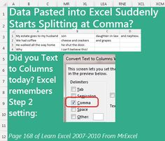 Data pasted to Excel suddenly starts parsing at comma