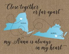Mother's Day Gift for Nana, Gift for Nana  Grammy, Nana Long Distance Map, Personalized Grandma Gift, Long Distance Map for Nana, Grandma by DarmellaGraphics on Etsy