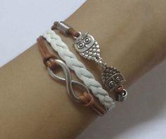 ancient silver infinity bracelets owl bracelet white by Carlydiy, $4.59
