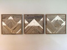 Welcome to Dusty Square Designs, we are a family owned business in San Antonio TX. Our pieces are made from locally sourced reclaimed wood. Each piece is carefully handmade in our shop. Each piece has its own unique character and will become a focal point in your home. These Rustic Mountain Tops are sold in a set of 3. The listed size is the overall size of the set of 3.For example, a 24x72 inch set will be 3- 24x24 inch pieces. Hanging hardware is included on the backs of each piece…