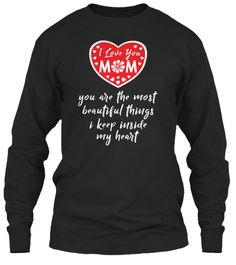 Mother's Day T Shirt | I Love Mom Black Long Sleeve T-Shirt Front