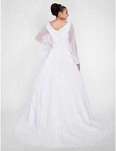 Ball Gown V-neck Chapel Train Chiffon Plus Size Wedding Dress, wedding dresses sale Free shipping, wedding dresses, a line wedding dresses 6b7af176