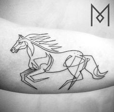 By Mo Ganji | Berlin | #Linework #Design #Horse #Tattoo #OneLine
