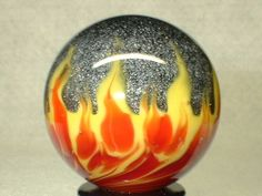 WILLIS MARBLES -  HOT COAL   -  HANDMADE MARBLE