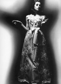 Laura in gown by Dior, photo by William Klein, 1962