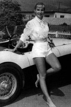 movie stars 40s | Joanne Woodward with a Austin Healey 100