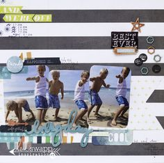 Everyday by Heidi Swapp featuring September Skies Collection - Scrapbook.com - Round the corners and distress the edges of 3x4 photos for a perfect beach layout.