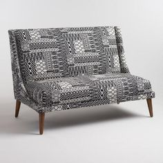 Bring a casual, boho-chic vibe to your living area with our love seat featuring bold black and white tribal-print jacquard upholstery. Upholstered Sofa, Love Seat, Affordable Sofa, White Loveseat, Black And White Decor, Tiny House Inspiration, Ranch Decor, White Couches, Black And White Sofa