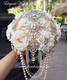 Gatsby Brooch Bouquet Gold Brooch Bouquet by Elegantweddingdecor