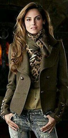 Jeans blazer leather jacket leopard scarf