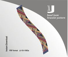 Bead loom pattern, bracelet DIY, beading instant, bookmark geometric, loom bracelet, geometric loom, loom bracelet pdf,  beading tutorial