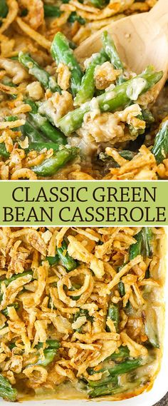 Classic Green Bean Casserole with cheese! Greenbean Casserole Recipe, Casserole Recipes, Vegetable Side Dishes, Vegetable Recipes, Classic Green Bean Casserole, Frozen Green Beans, Frozen French Style Green Beans Recipe, French Fried Onions, Cooking Recipes