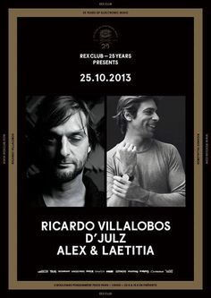 Rex Club 25 Years feat. Ricardo Villalobos | Rex Club | Paris | https://beatguide.me/paris/event/rex-club-rex-club-25-years-ricardo-villalobos-d-julz-alex-laetitia-20131025/poster/