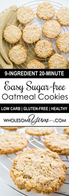 Sugar-free Oatmeal C Sugar-free Oatmeal Cookies (Low Carb Gluten-free). - These sugar-free gluten-free oatmeal cookies are moist satisfying and unbelievably low carb. Only 9 ingredients 4 grams net carbs and ready in 20 minutes! Sugar Free Sweets, Sugar Free Cookies, Low Carb Sweets, Sugar Free Recipes, Low Carb Desserts, Healthy Sweets, Low Carb Recipes, Diabetic Desserts, Diabetic Recipes