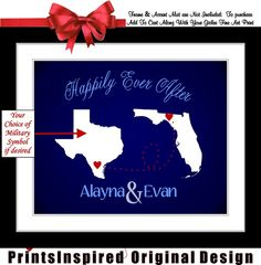 custom two states long distance military couple personalized map #printsinspired, $26.99
