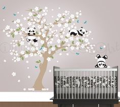 { APPROX. SIZES } Tree as shown is 94 wide x 84 tall Whats Included: ~ 1 Tree ~ Blossoms in 1 Color ~ Leaves in 1 Color ~ 3 Pandas ~ Dragonflies