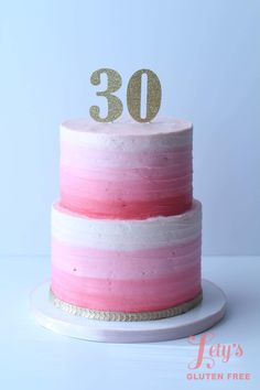 Hot pink ombre tiered cake. 30th birthday celebration.  Lety's Gluten Free Custom Cake and Cupcakes in Houston, Texas.