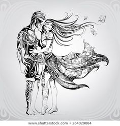 Discover this and millions of other royalty-free stock photos, illustrations, and vectors in the Shutterstock collection. Thousands of new, high-quality images added every day. Kissing Drawing, Angel Drawing, Art Sinistre, Mural Art, Fairy Drawings, Dark Art Drawings, Angel Demon, Black Dragon Tattoo, Drawing Course