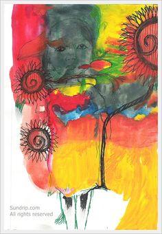 Sunflowers in the Sea Original Painting Sketchbook Art by sundrip, $27.00