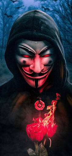 Anonymous Guy With Burning Rose 4k wallpaper