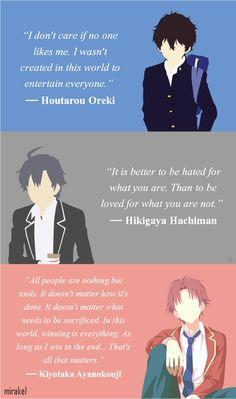 Houtarou Oreki, Hikigaya Hachiman, Kiyotaka Ayanokouji - Everything About Anime Sad Anime Quotes, Manga Quotes, Anime Quotes About Life, Anime Films, Anime Characters, Anime Life, Badass Quotes, Inspirational Quotes, Hyouka