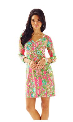 Lilly - Palmetto V-Neck T-Shirt Dress in Southern Charm