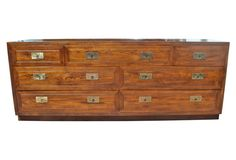 Henredon Oak Campaign-Style Dresser