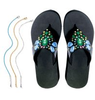 """Anklets & Flip Flops Summer Style WOW Deal  SALE $12.99 (a $22.98 value) until June 3rd.  Includes:  ***Multi-Color 3-Piece Anklet Set***  Silvertone, goldtone and colored chains, each 9"""" L with 1 1/2"""" extender.   ***Embellished Stone Flip-Flop***  Leatherlike upper with beads and sequins. 1 3/4"""" heel. Skid-resistant sole.   ORDER online at www.YourAvon.com/cvmack"""