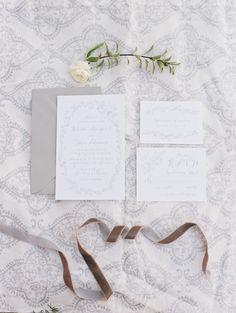 White & gray organic invitation suite: http://www.stylemepretty.com/california-weddings/bakersfield/2015/09/29/organic-luminous-ranch-wedding-inspiration/ | Photography: Lucy Munoz - http://www.lucymunozphotography.com/