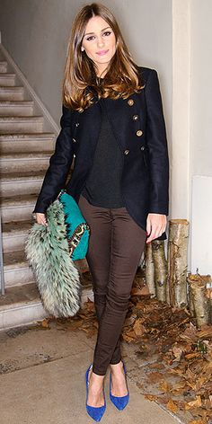 Olivia Palermo in Navy military blazer, brown skinnies, bright blue pumps and teal bag