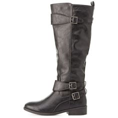 Qupid Buckled Riding Boots ($32) ❤ liked on Polyvore featuring shoes, boots, black, equestrian boots, knee high rubber boots, rubber boots, rubber riding boots and riding boots