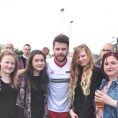 Me (Holly - BTYC) and the girls with Danny Miller 26.05.15 #Emmerdale vs British Transport Police Charity Football match at Garforth Town FC - he scored the 3 goals in the Emmerdale 3-2 victory #DannyMiller #AaronLivesy (My personal picture, please repin but do not steal)