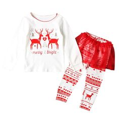 MiyaSudy Baby Little Girls Deer Printed Long Sleeve T-shirt and Skirt Pants Kids Christmas Clothes Set. Material:Polyester,Comfortable to Wear. Christmas Outfits,Deer Printed Tops and Skirt Pants ,Stylish and Sweet. Suitble for Dailywear, ChristmasWear or Partywear. Size:2-6 Years Old Child; Age for Reference, Plz Check Size Chart from Product Description before Ordering. Package:1 PC Long Sleeve T-shirt and 1 PC Pants.