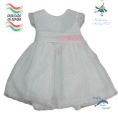 Vestido de ceremonia para bebe de PIZPIRETA confeccionado en plumeti